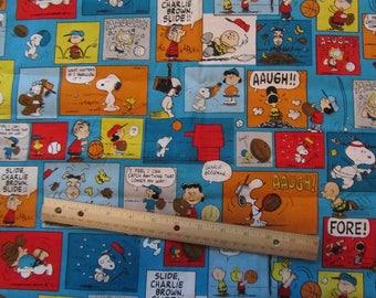 Blue Peanuts Gang Sports Comic Strip Cotton Fabric by the Half Yard