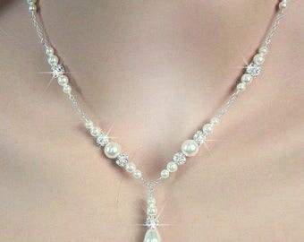 Bridal Pearl Necklace, Pearl and Rhinestone Y Drop Necklace, Pearl Wedding Necklace, Sterling Silver, Bride Necklace, Wedding Jewelry