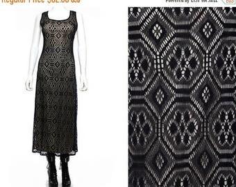 30OFF Vtg 90s Black Illusion Crochet Macrame Mesh Boho Maxi Dress M