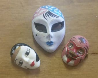 Three Vintage Mask Brooches