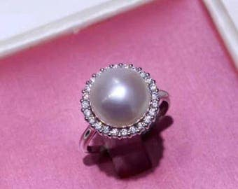 White freshwater pearl sterling silver and zircon crystals ring - Natural pearl ring- pearl engagement ring