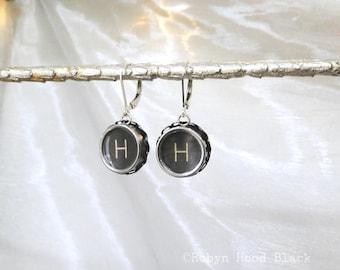 Letter H  Earrings Vintage Typewriter Keys with Sterling Silver Leverbacks
