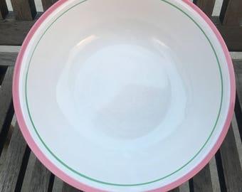 Vintage Pink and Mint Rim Salad Bowl Stoneware (japan)