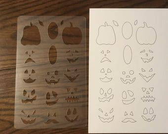 Pumpkin Faces Stencil for 5 x 8 Journals ~ Drawing and Calendars