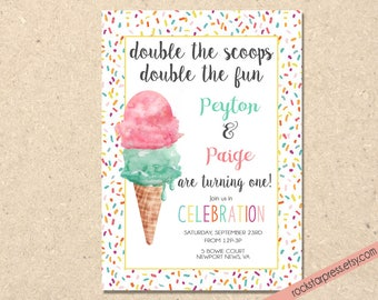 Twin Birthday Party Invitation, Printable, Two is Better Than One, Digital Download _1311