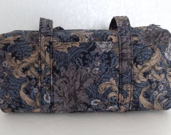 Black Tan Grey Print Quilted Barrel-Style Purse Duffel Handbag