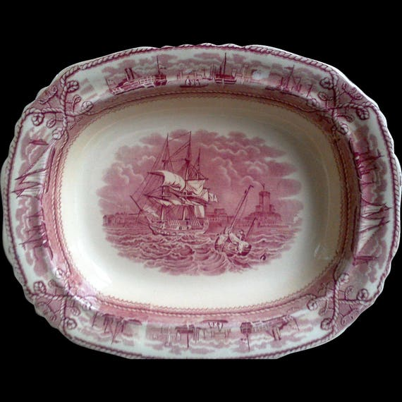 Masons American Marine oval bowl red transferware nautical bowl ironstone housewarming gift wedding gift ships bowl thanksgiving bowl