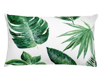 Tropical Leaf Pillow, Rectangular Pillow, tropical pillow, leaf throw pillow, monstera pillow, palm leaf pillow, modern pillow, green pillow