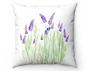 Lavender Throw Pillow, lavender pillow, lavender throw, floral throw pillow, flowers pillow, flower throw pillow, white throw pillow