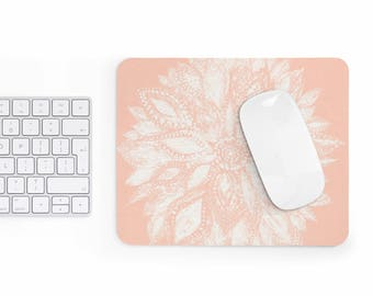 Pink Flower Mousepad, pink mousepad, pink mouse pad, flower mousepad, flower mouse pad, blush mousepad, floral mousepad, floral mouse pad