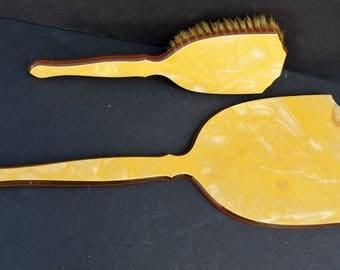 Vintage Mirror and Brush Set Celluloid Vanity Set Beveled Glass Hand Mirror