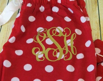 ON SALE WOMEN & Youth Monogram Red with White Polka Dot flannel pajama bottoms - Perfect for Christmas