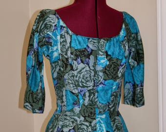 Blue Roses 1950s 50s Suzy Perette New Look Nipped Waist Dress