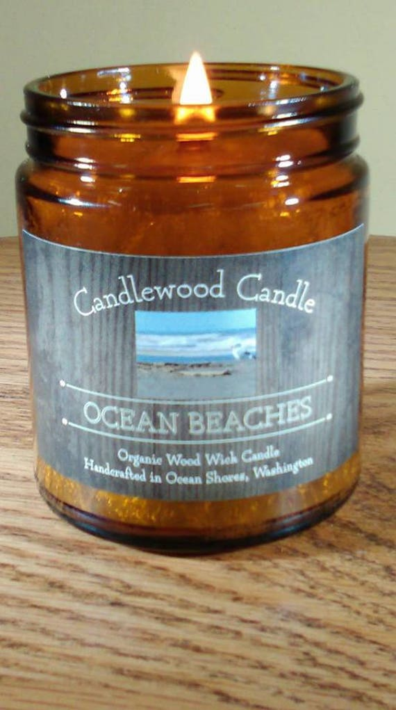 OCEAN BEACHES - Organic Ocean Seawater Wood Wick Candle 9oz Amber Jar with Black Lid - Free Shipping in USA