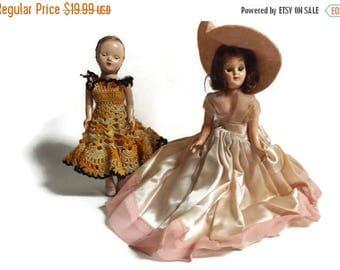 Vintage dolls, sleepy eye dolls, 1950s dolls, plastic doll, lot of 2 dolls, doll doctor project, project dolls, doll hospital needed