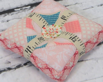 Pincushion handmade pieced quilted square pin cushion sewing notion ground walnut shells quilting notion ready to ship free shipping