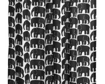 Curtain panel white black elephants Animal Modern Decor Cafe curtain Kitchen valance , runner , napkins available, great GIFT