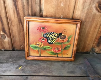 Vintage Acrylic Painting Butterfly Flowers Orange Yellow Raise Paint Wood Frame