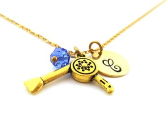 Hair Stylist Necklace -Swarovski Birthstone - Custom Initial - Personalized Gold Necklace / Gift for Her
