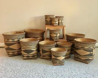 vintage woven nesting baskets set of 3 ikat boho decor