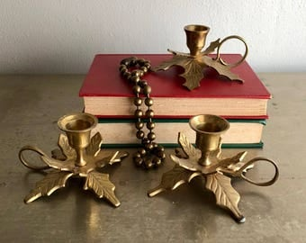 vintage holly leaf candle holders brass taper chambersticks retro holiday
