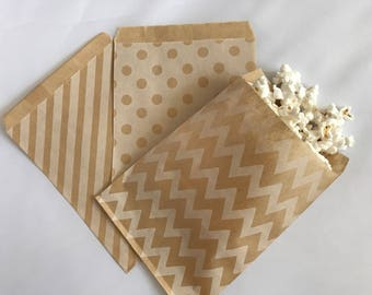 Vintage Goodie Bags-Kraft Striped, Polka Dot, & Chevron | Candy Buffet | Popcorn | Paper Treat Bags-30 Count