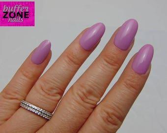 Hand Painted Press On False Nails, Lavender, Medium Length Oval