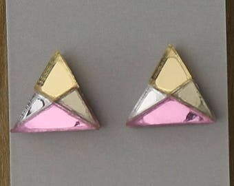 Pink, Gunmetal and Silver Laser Cut Triangle Geometric Stud Earrings- Gifts for her - Australian Seller