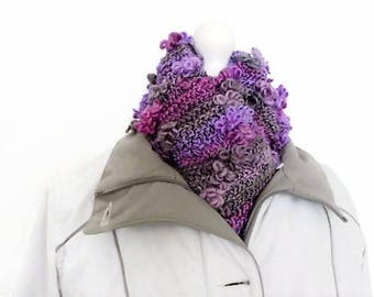 Purple chunky knit scarf, knitting gifts, lilac fashion scarves, handmade scarves, hand knitted scarf, aubergine scarf, neck warmer scarf,