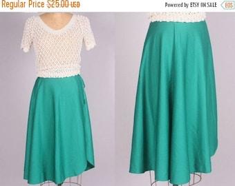 "40% SALE 1970's Wrap Skirt || Vintage Teal Green Skirt || 25"" waist (xs - small)"