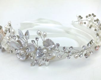 Bridal Wedding Hair Vine With Ivory And Champagne Freshwater Pearls And Crystals, Ribbon Tie Headband, Wedding Headpiece, Silver Or Gold
