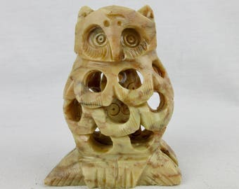Vintage Owl Sculpture, One Hidden Inside, Soapstone