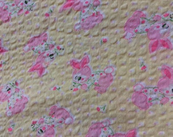 vintage yellow/pink bunny fabric, 1 yard