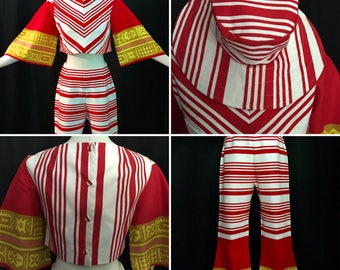 RARE 3 pc. Vintage 1960's GIDGET Red & White Striped Resort Wear~Belled Clam Digger Pants, Crop Top and Floppy Sun Hat