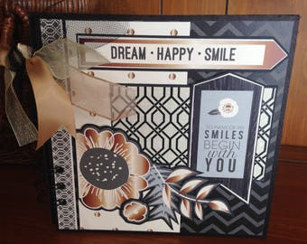 Dream Happy Smile Chipboard Book - Completed Scrapbook Album