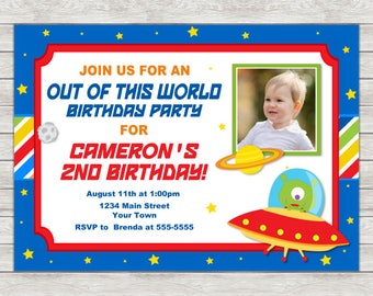 Alien Birthday Invitation, Outer Space Birthday Invitation (Available As Printable File or Printed Invitations)