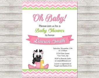 Zebra Baby Shower Invitation, Pink Zebra Girl Baby Invite - Printable File or Printed Invitations