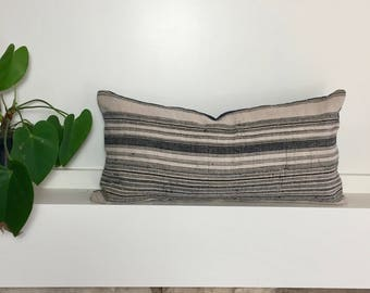 Indigo Hemp Throw Pillow // Hmong Hill Tribe textile // Lumbar pillow