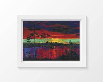 Cross Stitch Chart, At Sunset Cross Stitch Pattern PDF, Scenery Cross Stitch, Arkady Alexandrovich Rylov, Embroidery Chart (KLEST01)