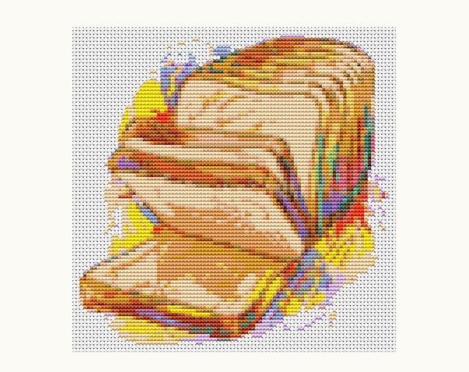Mini Cross Stitch Pattern PDF, Embroidery Chart, Art Cross Stitch, Kitchen Series: Fresh Bread (TAS030)