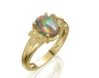 9x7mm Pure Australian Black Opal Ring in 14K or 18K Gold 1.5TCW Sku: R2216