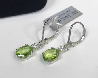 Beautiful 2.4 Peridot & White Sapphire Earrings Sterling Silver Trending Jewelry Gifts August Mom Fiance Daughter Genuine Peridot Earrings