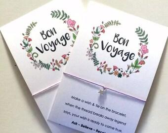 Wish String Bracelet Bon Voyage Vintage Wreath Card Good Luck Freshers Y155
