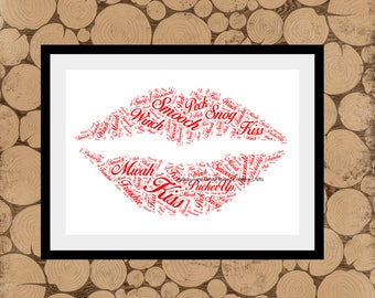 Valentines Day Gift, Personalised Lips Print, Lips Word Art, Lips Word Collage, Lips Word Cloud, Gift For Wife, Gift For Girlfriend.