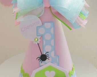 Little Barnyard Pig - Barn - Farm - Pastels - Pink, Blue, Lime,  Polka Dot Birthday Party Hat - Personalized - Charlotte's Web Inspired