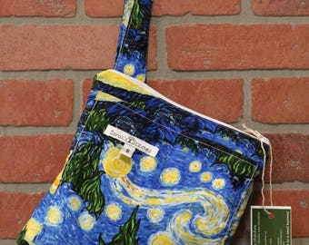 Small Wetbag, Starry Night, HANDLE, Cloth Diaper Wetbag, Cosmetic Bag, Diaper Bag, Holds One Diaper, Size Small with Pocket, S39