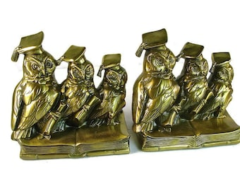 """Mid Century BRASS OWL BOOKENDS, P.M. Craftsman, U.S.A., 6"""", Graduation Gift, Hand Crafted"""