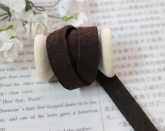 1 meter Ribbon suede color Brown width 1 cm
