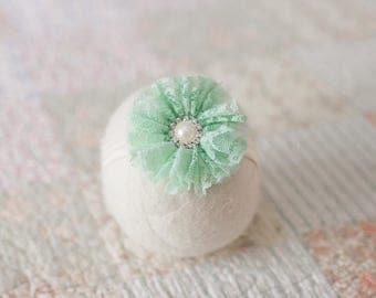 Mint Green Headband, Mint Lace Flower Headband, Mint Newborn Headband, Mint Green Photo Prop, Mint Green Baby Headband, Pale Green Headband