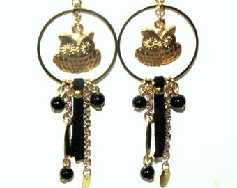 earrings, gold and black metal owls